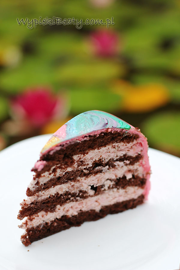 czekoladowo-malinowy tort