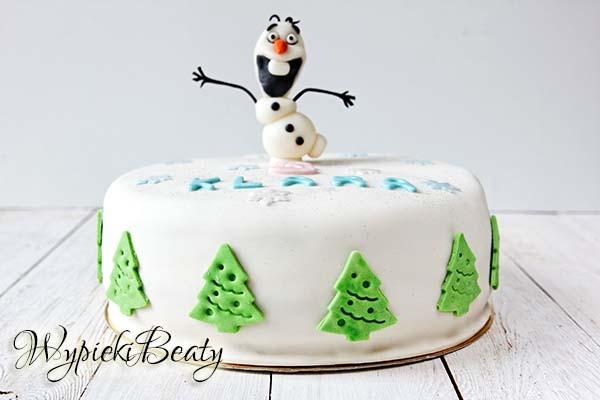 tort z olafem olaf frozen cake kraina lodu