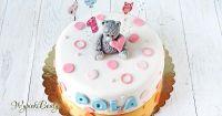 urodzinowy tort z figurką misia