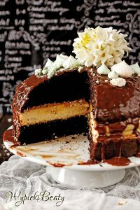 chocolate cake with cheesecake