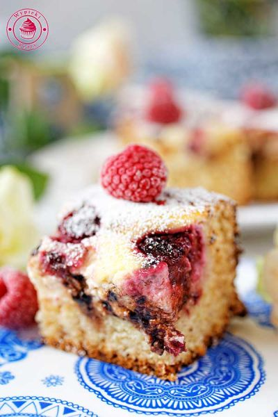 cake with cheese and raspberries
