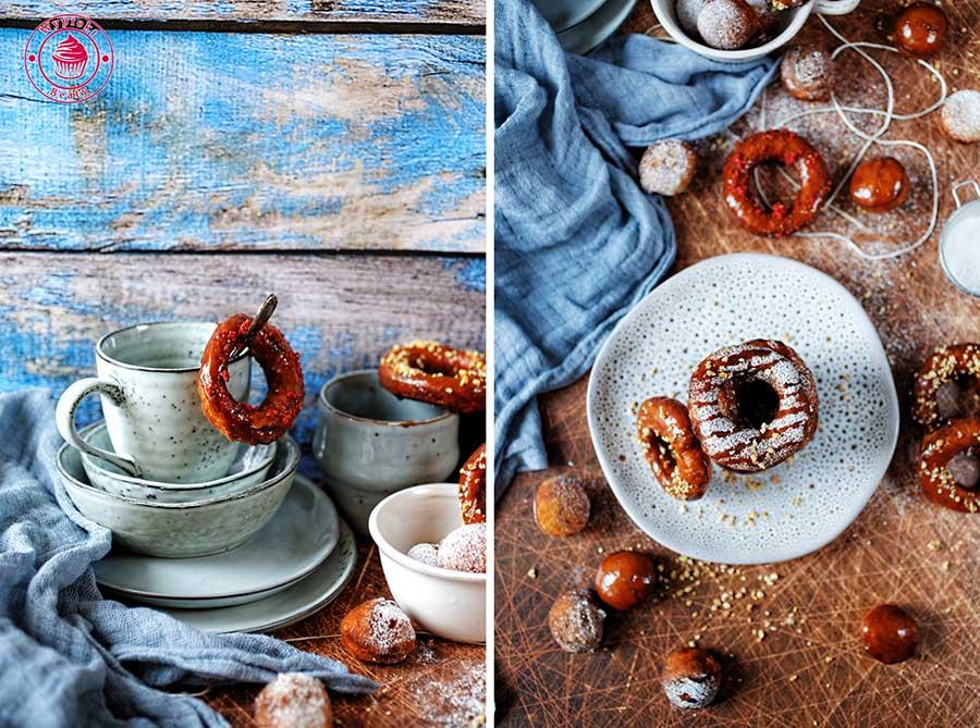zdjęcie przedstawia drożdżowe oponki posypane cukrem pudrem i oblane lukrem
