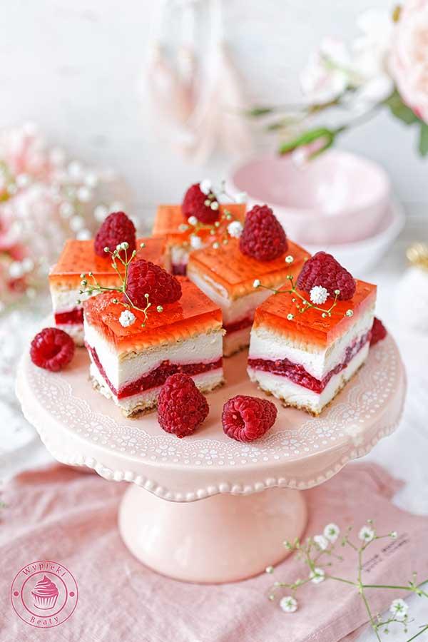 ciasto bez pieczenia z malinami